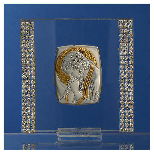 Favour with image of Christ in silver and rhinestones 7x7cm 2