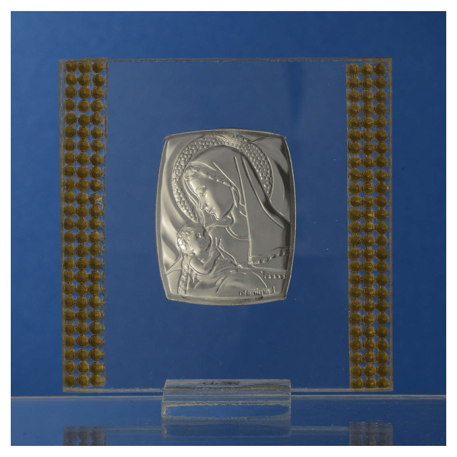 Bonbonnière Naissance Argent et strass 7x7 cm 3