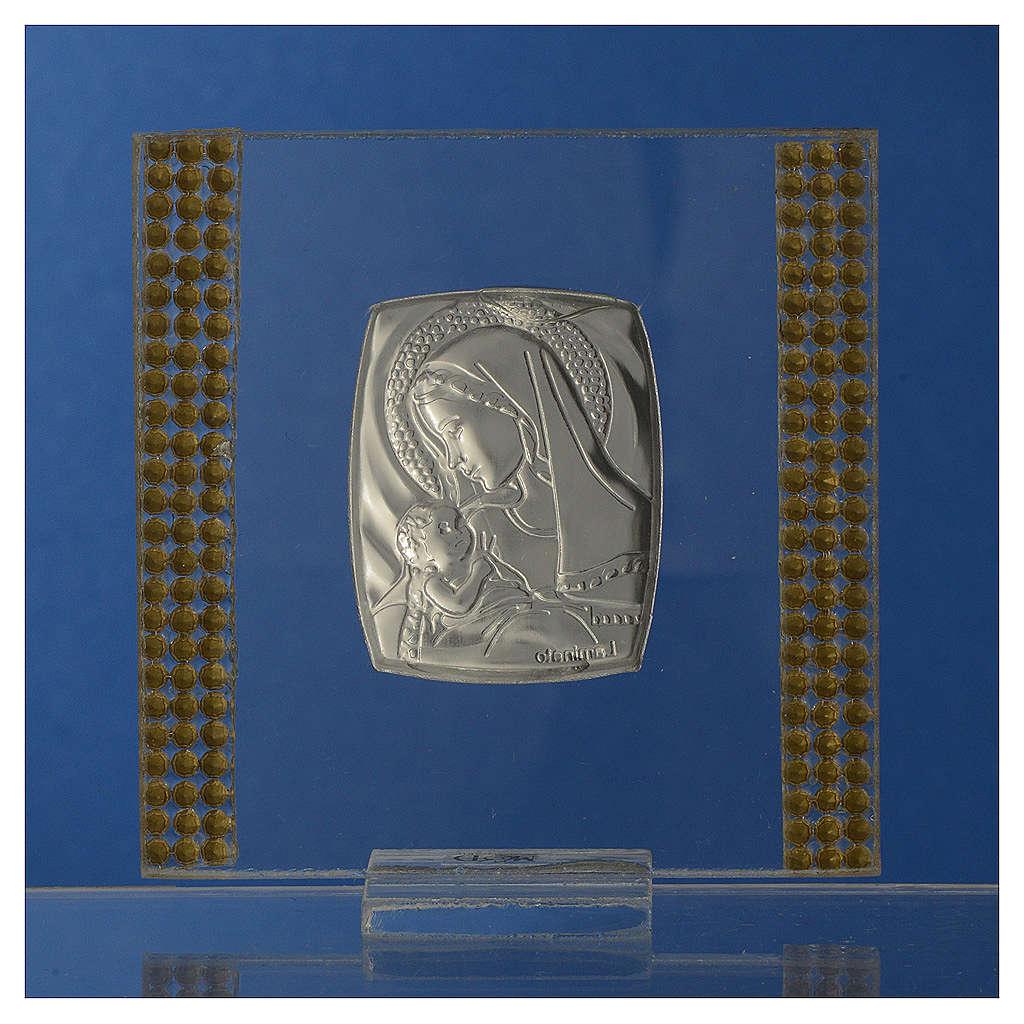 Bomboniera Nascita Argento e strass 7X7 cm 3