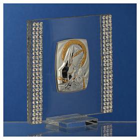 Bomboniera Nascita Argento e strass 7X7 cm s7