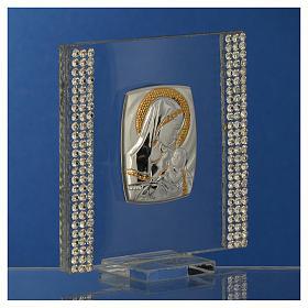 Bomboniera Nascita Argento e strass 7X7 cm s3
