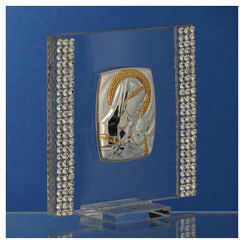 Bomboniera Nascita Argento e strass 7X7 cm 7