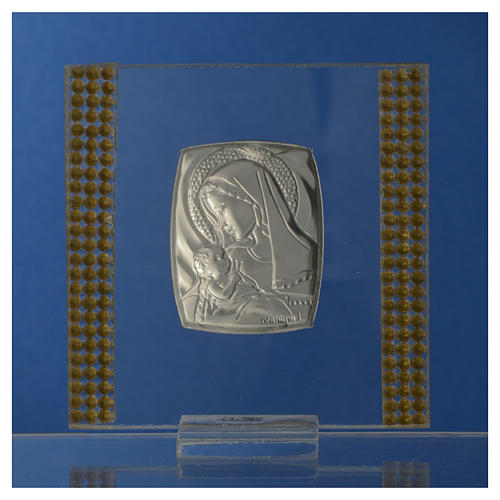 Bomboniera Nascita Argento e strass 7X7 cm 8