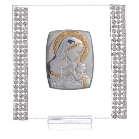 Birth favour with in silver and rhinestones 7x7cm s5