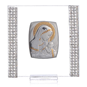 Birth favour with in silver and rhinestones 7x7cm s1