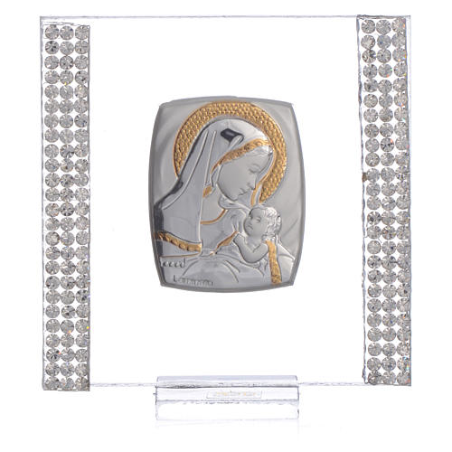 Birth favour with in silver and rhinestones 7x7cm 5