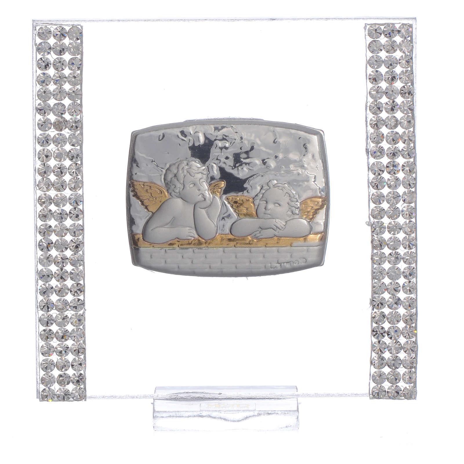 Pamiątka srebro i brokat 7x7cm Anioł 3