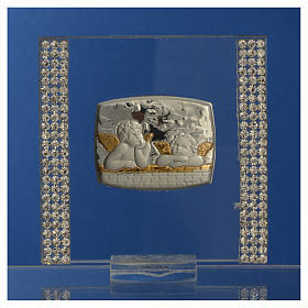 Pamiątka srebro i brokat 7x7cm Anioł s6