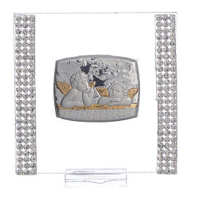 Pamiątka srebro i brokat 7x7cm Anioł s1
