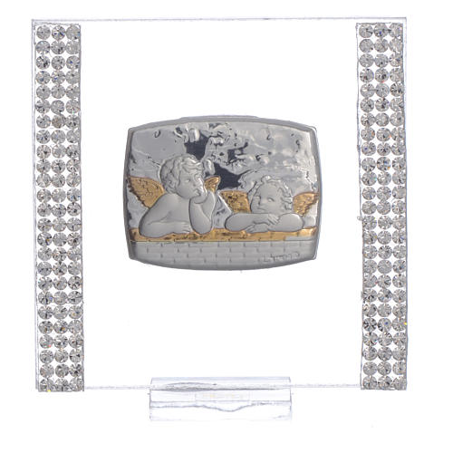 Pamiątka srebro i brokat 7x7cm Anioł 5
