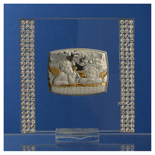 Pamiątka srebro i brokat 7x7cm Anioł 2