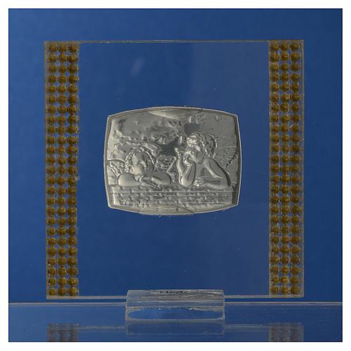Pamiątka srebro i brokat 7x7cm Anioł 4