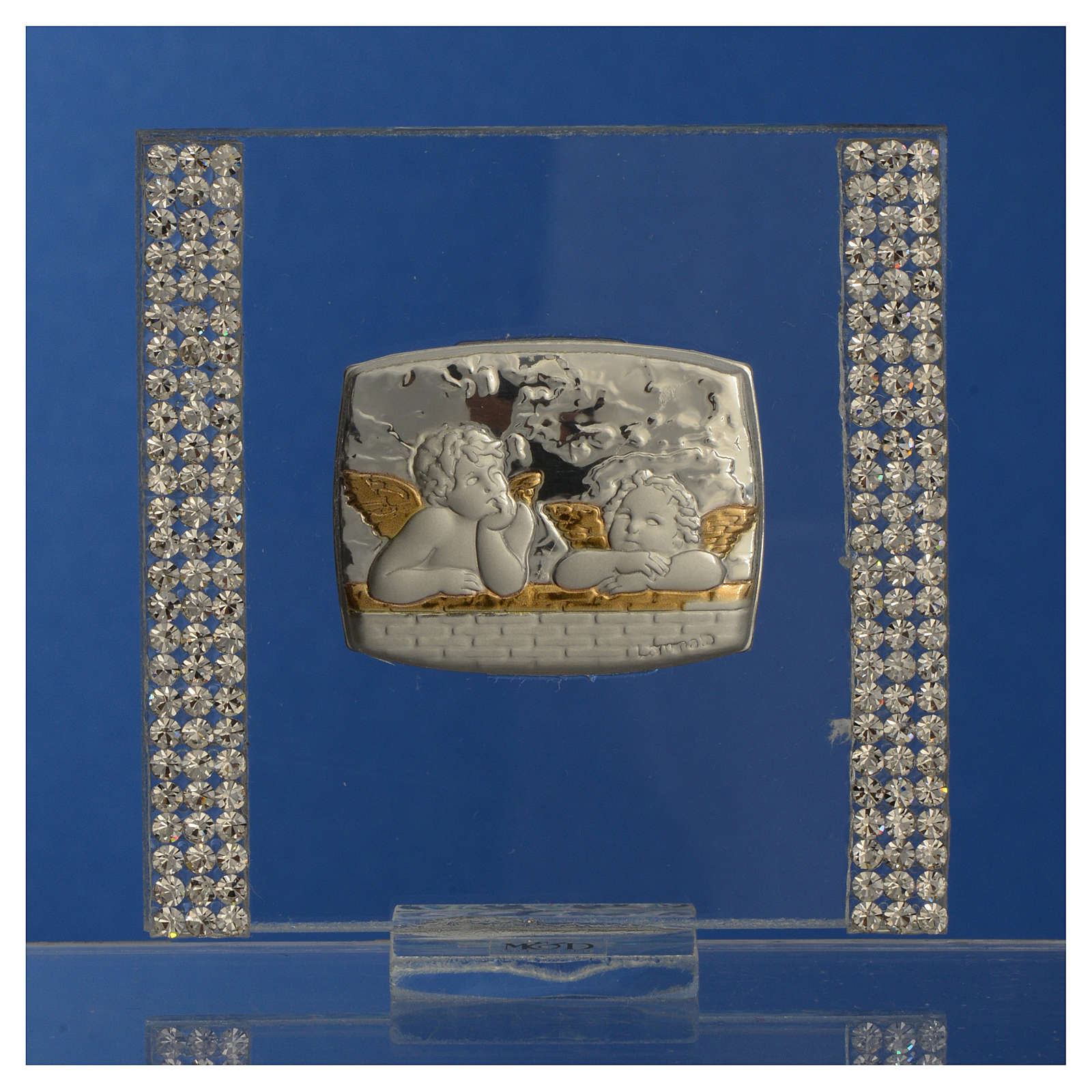 Lembrancinha batismo prata e strass anjo 7x7 cm 3
