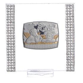 Lembrancinha batismo prata e strass anjo 7x7 cm s5