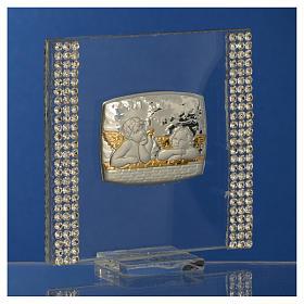 Lembrancinha batismo prata e strass anjo 7x7 cm s7