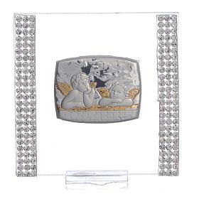 Lembrancinha batismo prata e strass anjo 7x7 cm s1