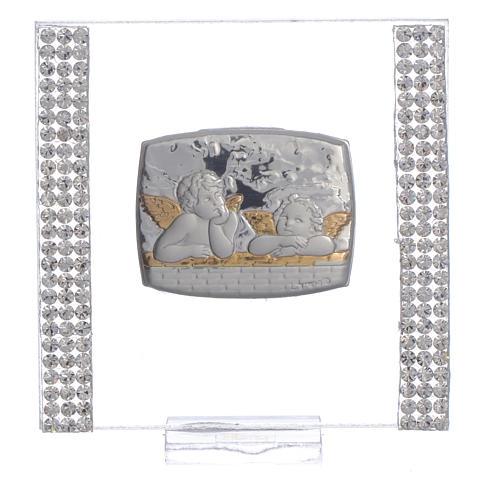 Lembrancinha batismo prata e strass anjo 7x7 cm 5