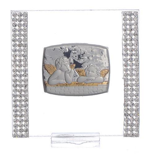 Lembrancinha batismo prata e strass anjo 7x7 cm 1