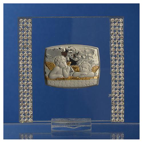 Lembrancinha batismo prata e strass anjo 7x7 cm 2