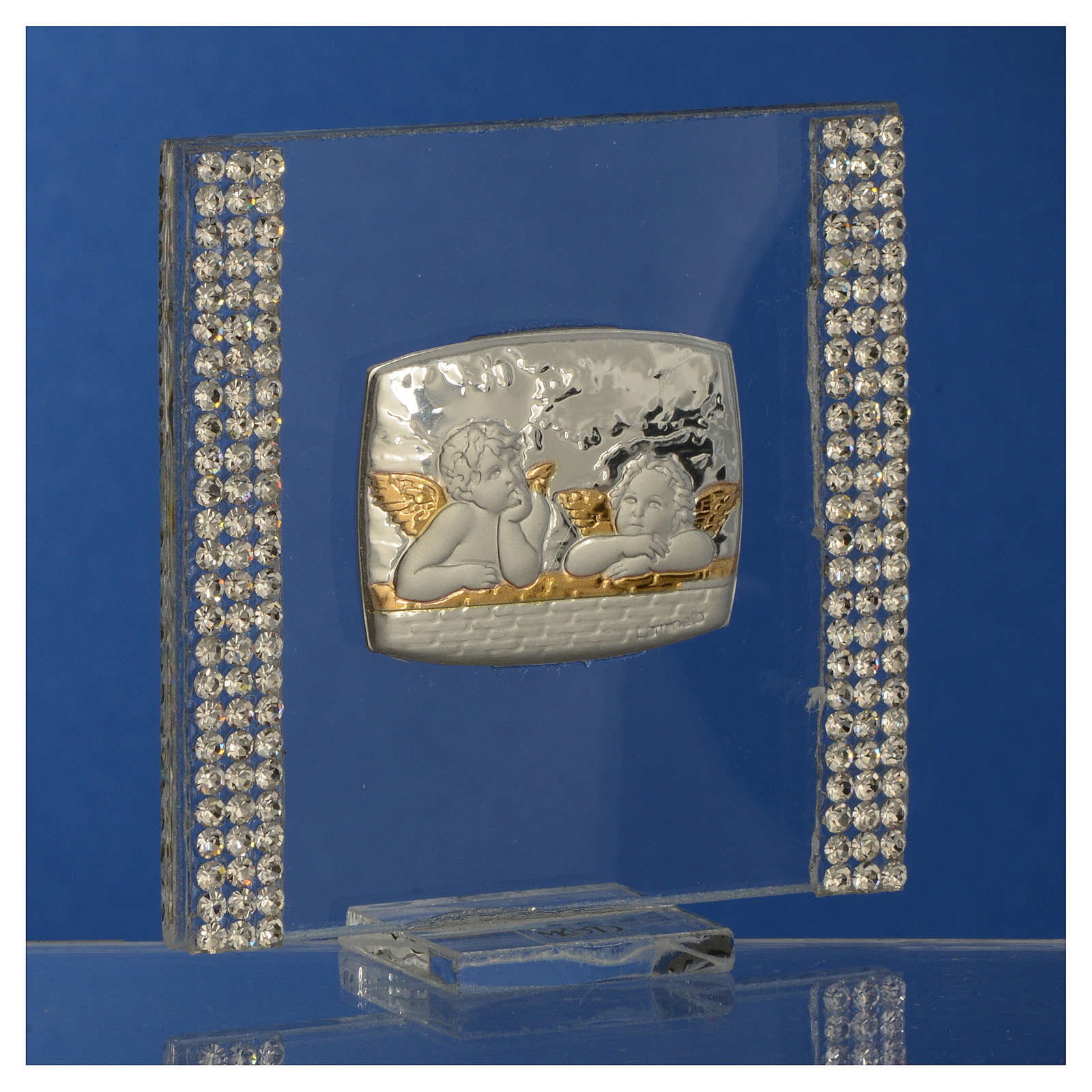 Christening favour with angel in silver and rhinestones 7x7cm 3