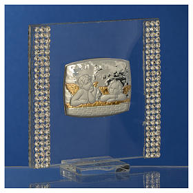 Christening favour with angel in silver and rhinestones 7x7cm s7