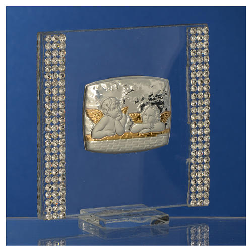 Christening favour with angel in silver and rhinestones 7x7cm 7