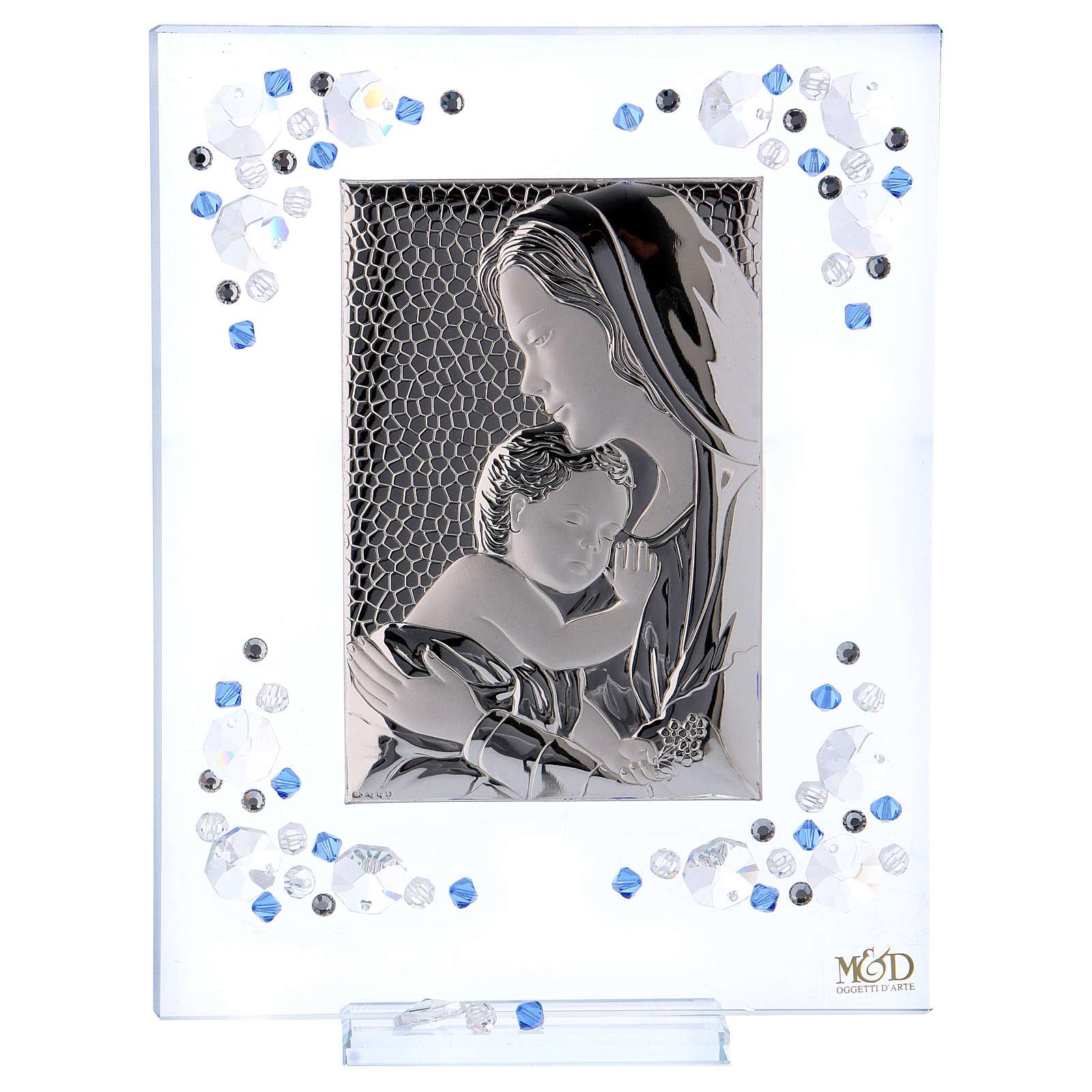 Quadro Maternità Blu Argento e Swarovski 19x16 cm 3