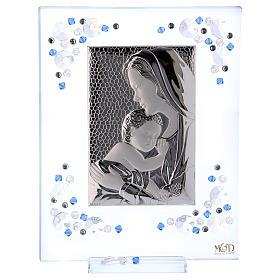 Quadro Maternità Blu Argento e Swarovski 19x16 cm s1