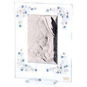 Quadro Maternità Blu Argento e Swarovski 19x16 cm s2
