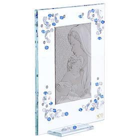 Quadro Maternità Blu Argento e Swarovski 19x16 cm s3