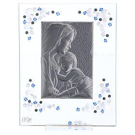 Quadro Maternità Blu Argento e Swarovski 19x16 cm s4