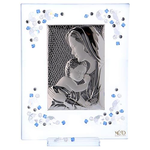 Quadro Maternità Blu Argento e Swarovski 19x16 cm 1