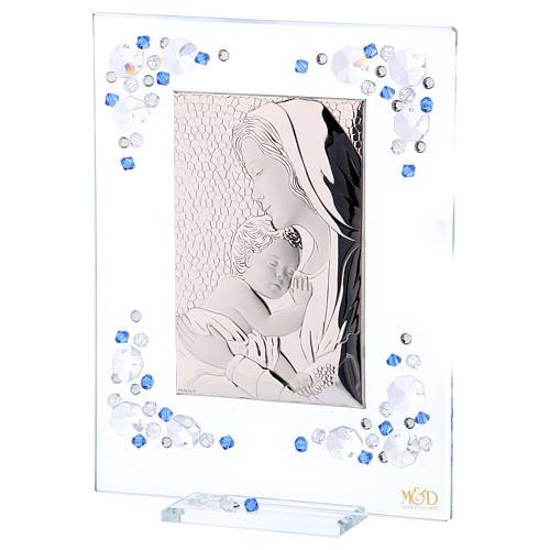 Quadro Maternità Blu Argento e Swarovski 19x16 cm 2