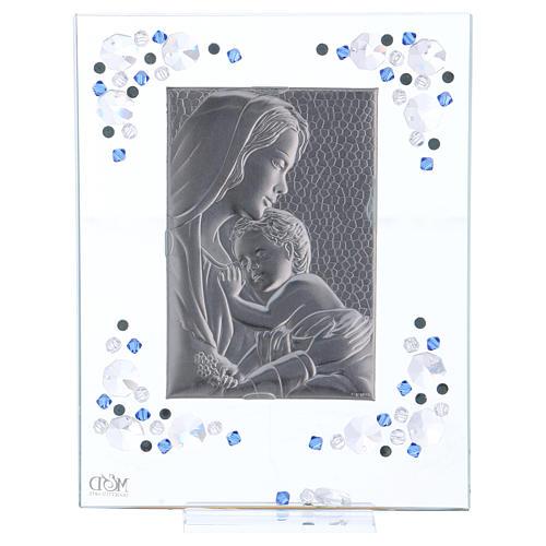Quadro Maternità Blu Argento e Swarovski 19x16 cm 4