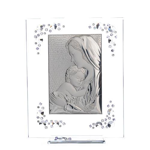 Cadre Maternité argent et Swarovski glycine 5