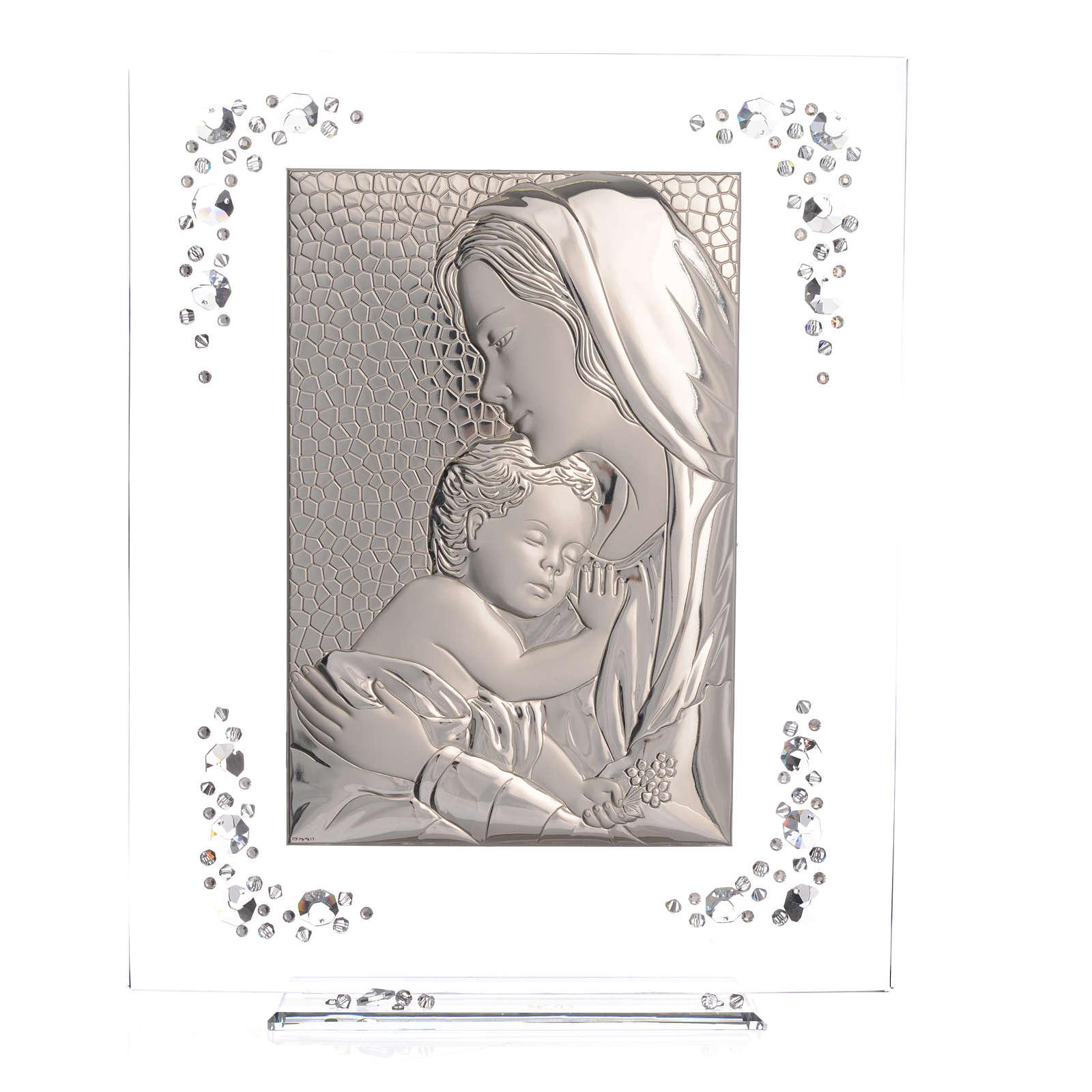 Quadro Maternità Argento e Swarovski Bianco 3
