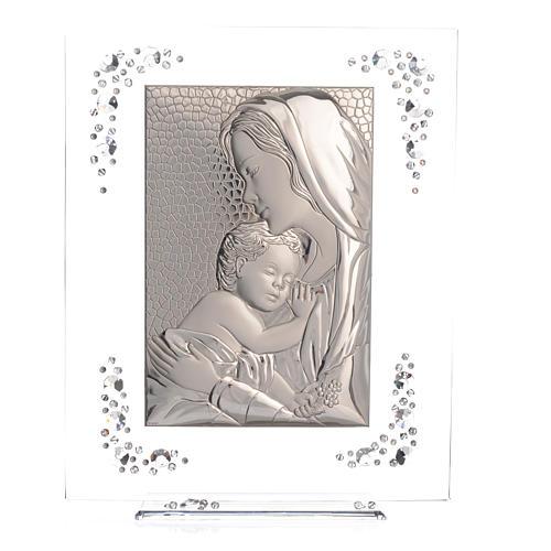 Quadro Maternità Argento e Swarovski Bianco 5