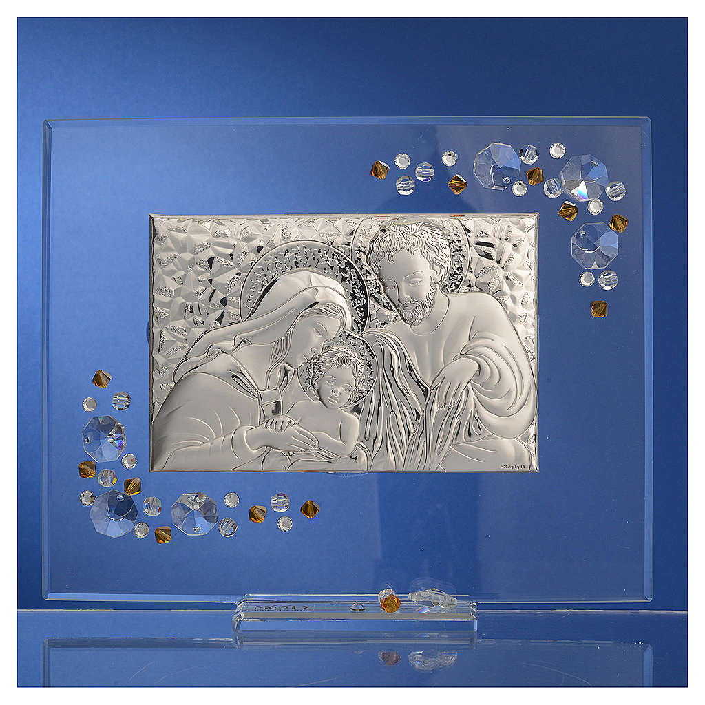 Favour, Holy Family picture with amber Swarovski 19x16cm 3