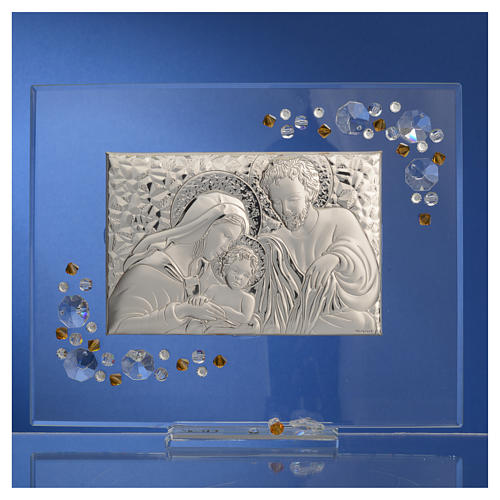 Favour, Holy Family picture with amber Swarovski 19x16cm 6