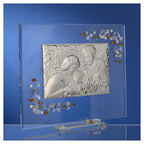 Favour, Holy Family picture with amber Swarovski 19x16cm 7
