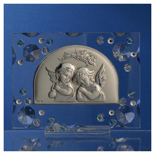 Christening favour, Autumn image with angels and aqua Swarovski 5
