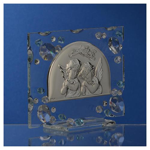 Christening favour, Autumn image with angels and aqua Swarovski 6