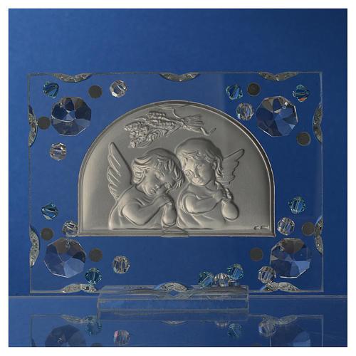 Christening favour, Autumn image with angels and aqua Swarovski 4