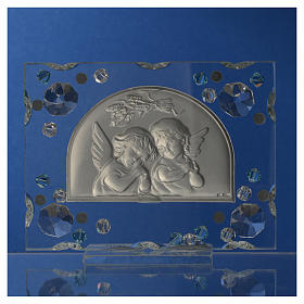 Christening favour, Autumn image with angels and aqua Swarovski s7