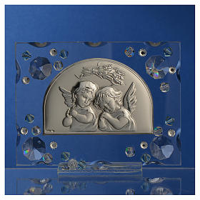 Christening favour, Autumn image with angels and aqua Swarovski s2