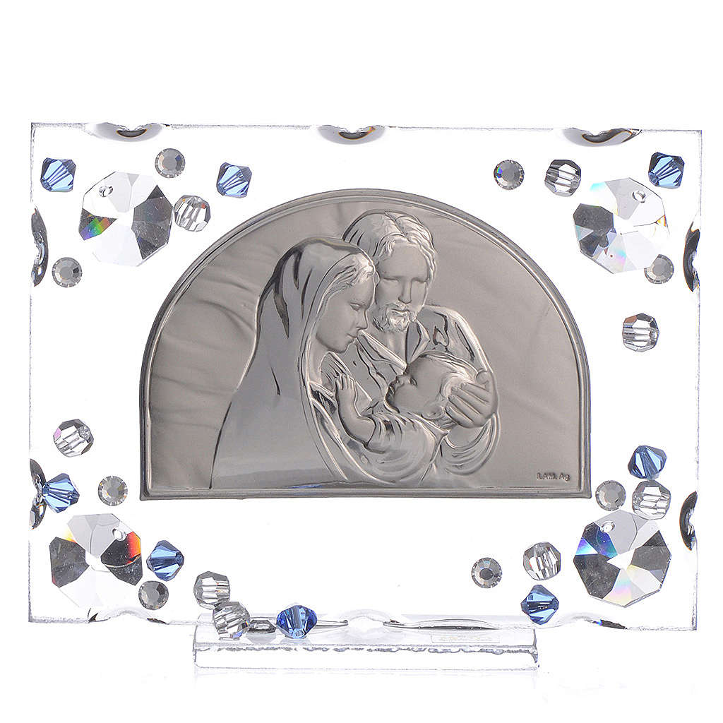 Holy Family picture, wedding favour with blue Swarovski 3
