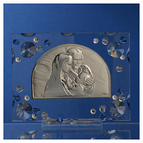Holy Family picture, wedding favour with blue Swarovski s6