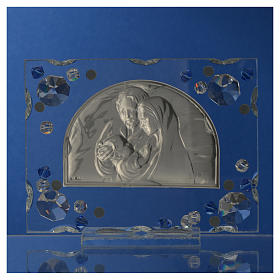 Holy Family picture, wedding favour with blue Swarovski s8