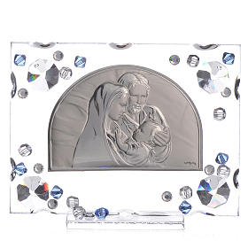 Holy Family picture, wedding favour with blue Swarovski s1