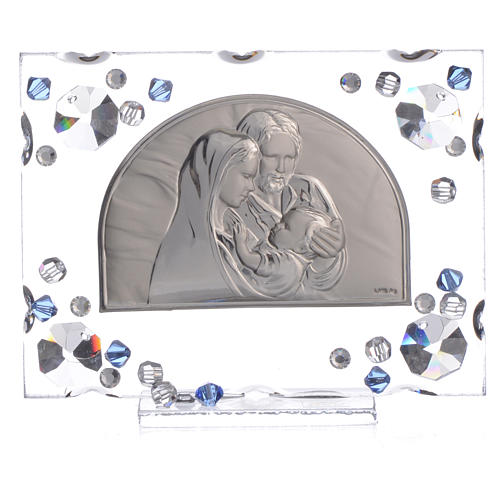 Holy Family picture, wedding favour with blue Swarovski 5